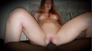 Redhead wife gets best fuck and creampie from BBC