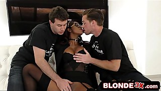 White Delivery Boys Take Turns Using Bored Black Wife'_s Wet Mouth - Jasmine Webb