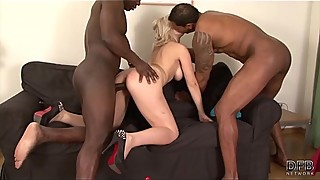 Threesome blonde fucked and facialized after anal sex and pussy fingering face
