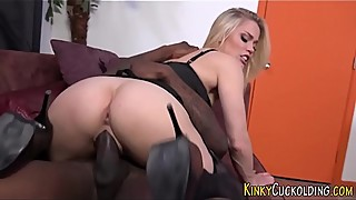 Blonde gets bbc creampied
