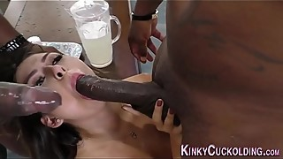 Babe sucking black cocks