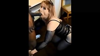 Mature lady in blue dress sucks and fucks a BBC