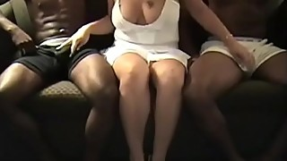 Blonde Busty Wife And Two Black Studs at Cuckold666.com