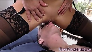 Domina cuckolder gets cum