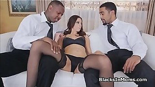 Housewife on two big black dicks