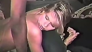 Very hot blonde wife takes huge black cock
