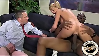 10 inch black cock stretches out young blonde girl in front of boyfriend