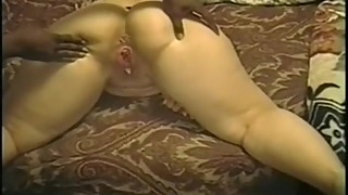Hubby coaches wife while she gets beat up doggy-style by BBC